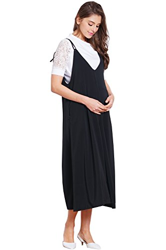 Sweet Mommy Maternity and Nursing Overall and Top Set, Black M by Sweet Mommy