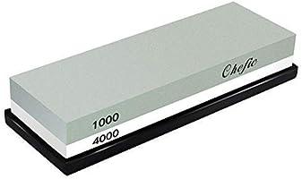BearMoo Sharpening Stone ,2-IN-1 Whetstone,1000 / 4000 Grit Combination Knife Sharpener- Rubber Holder Included