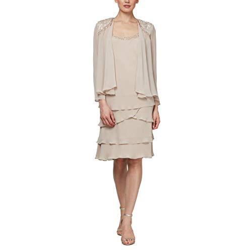 (S.L. Fashions Women's Embellished Tiered Jacket Dress (Petite and Regular), Winter Ivory, 18)