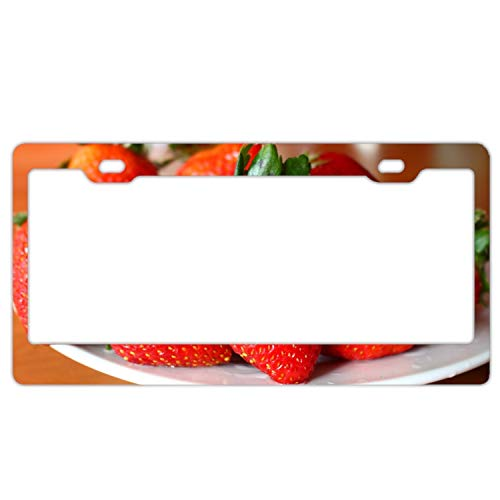 - fffvv Alumina Strawberry Berry Ripe Saucer License Plate Frame