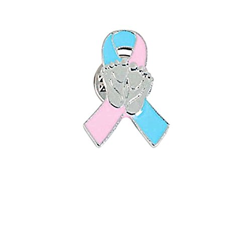 FX Infant Loss Awareness Ribbon with Baby Footprints Pins (Pkg of 12)]()