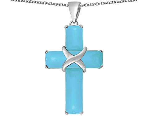 Star K Large Christian Cross Pendant Necklace with Emerald Cut Simulated Turquoise Stones Sterling Silver