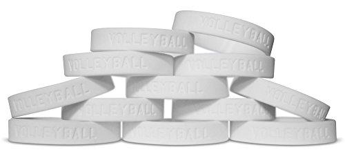 Novel Merk 12-Piece Kids Volleyball White Party Favor & School Carnival Prize Sports Silicone Wristband Bracelet