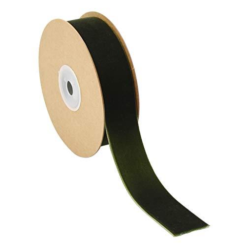 Prettyia 12 Colors 25mm/1'' 5 Yards Velvet Ribbon Roll for Crafts Headband Clips Hair Bow Wedding Decoration Christmas Ribbon - Green