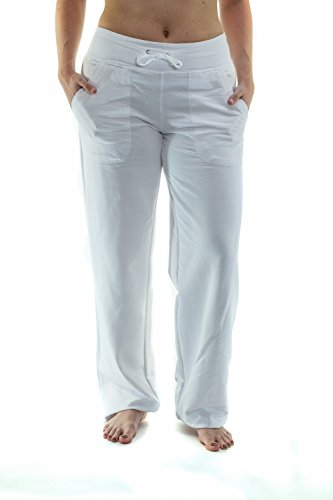 Women's Straight Leg Knit Lounge Pants With Pockets, White XL