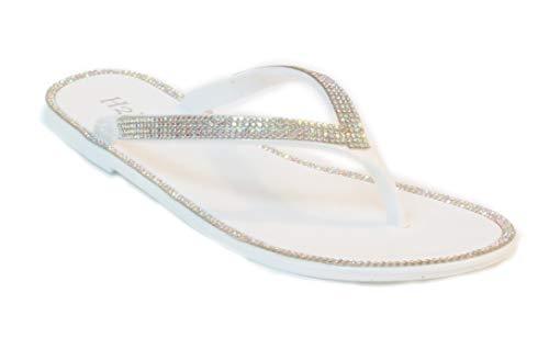 H2K Women's Bling Sparky Glitter Rhinestone Gold Silver Flat Thong Sandals Flip Flops (8 B(M) US, ()
