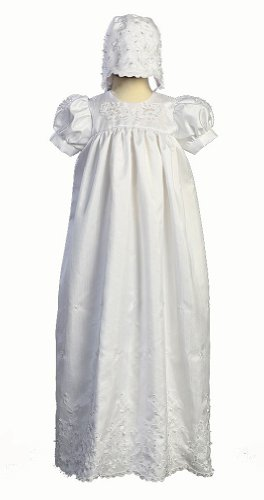 Long White Embroidered Shantung Christening Baptism Gown with Matching Bonnet - XS (0-3 Months) -