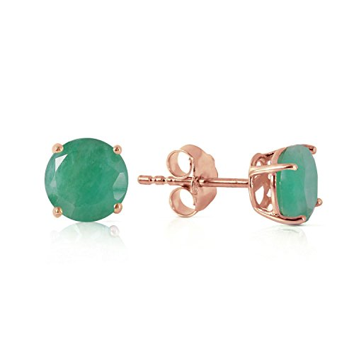 ALARRI 0.95 Carat 14K Solid Rose Gold Spotlight Emerald Stud Earrings by ALARRI