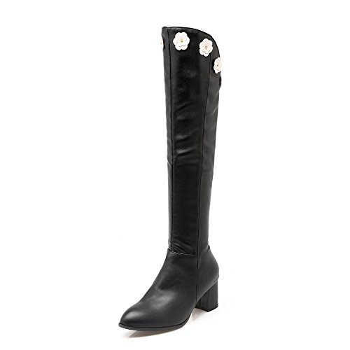 High Pu AgooLar Women's Black Kitten Top Zipper Solid Boots Heels SPfCwCq
