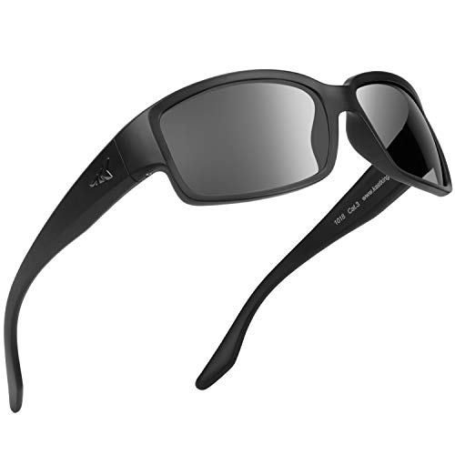 KastKing Skidaway Polarized Sport Sunglasses for Men and Women,Ideal for Driving Fishing Cycling and Running,UV Protection (Frame: Matte Black/Lens: Smoke) (Moderate Back Coverage)