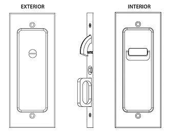 Emtek Modern Rectangular Privacy Pocket Door Mortise Lock (Polished Nickel)