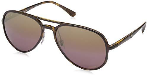 Ray-Ban RB4320CH Chromance Mirrored Aviator Sunglasses, Light Tortoise/Polarized Purple Mirror, 58 mm (Rayban Sonnenbrille Blau)