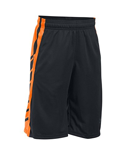 Under Armour Boys' Select Basketball Shorts, Black/Blaze Orange, Youth Medium
