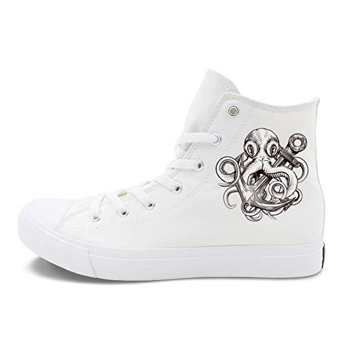 Exing Zapatos De La Mujer Lona Primavera/Otoño Comodidad Alpargatas/Zapatillas De Tacón Plano Talón Redondo con Cordones Blanco/Negro,White,42