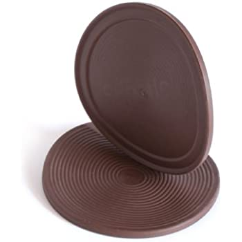 Slipstick CB885 3 1/2 Inch Large Non Slip Rubber Floor Surface Protector  Pads (Set Of 4 Grippers) Round   Chocolate Brown
