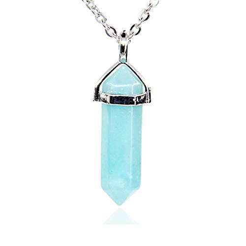 Blue Amazonite Gemstone Hexagonal Pointed Reiki Chakra Pendant Necklace 18