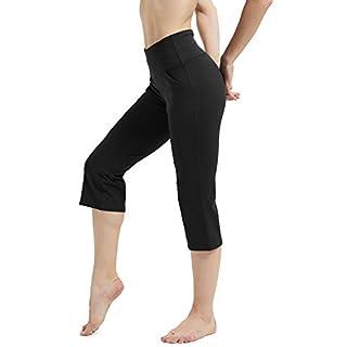 Rataves Women's Yoga Crop Pant 7/8 Workout Yoga Capris Leggings Sleek Fit High Waisted Yoga Pants 4 Way Stretch Tummy Control Leggings for Women L Black