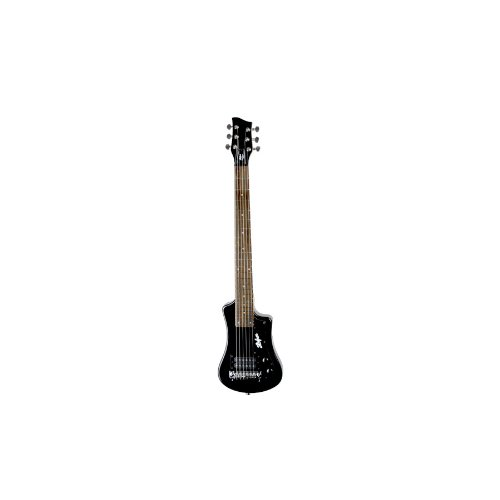 Hofner Shorty Guitar - Black Shorty Full Sized Neck Travel Electric Guitar w/ Gigbag