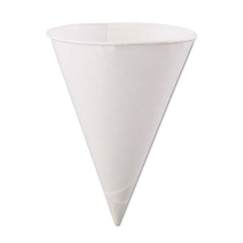 Konie Rolled-Rim Paper Cone Cups, 6oz, White, 200/Bag, 25...