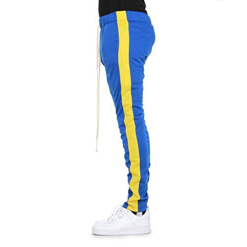 EPTM Mens Techno Track Ankle Zipper Pants (Medium, Blue/Yellow) ()