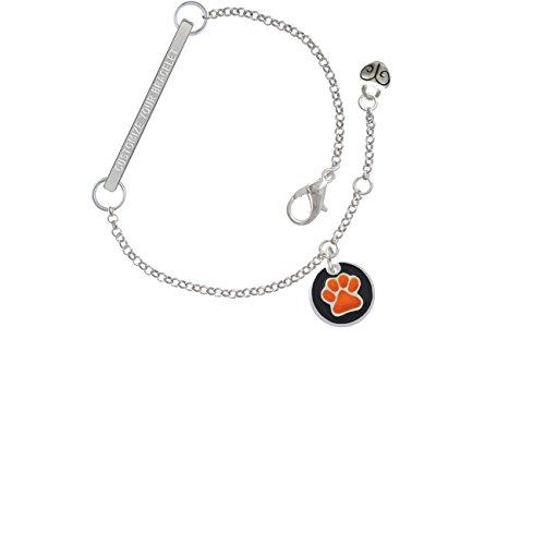 Team Name Script Bracelet - Orange Paw on Black Disc Custom Engraved Delicate Bar Bracelet