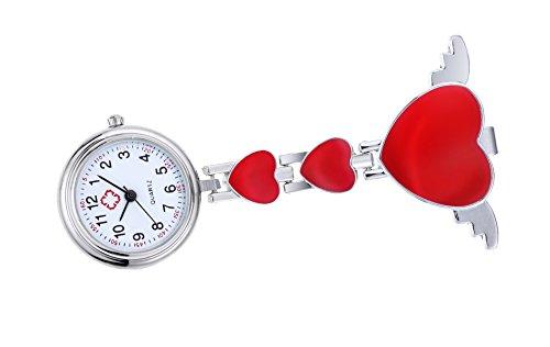 Angel Wing Heart Nurse Fob Watch Clip on Brooch Hanging Pocket Watch-Red