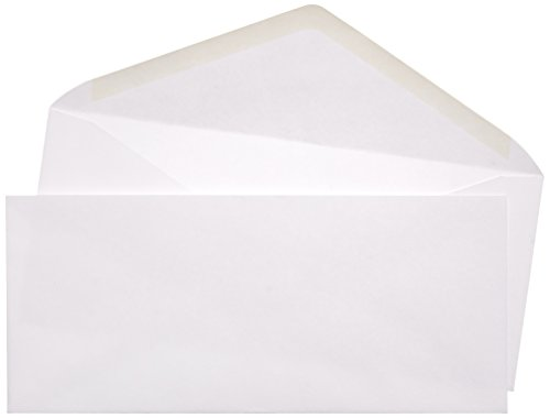 AmazonBasics #10 Envelope, Gummed Seal, White, 500-Pack (9 1/2 White 500 Envelopes)