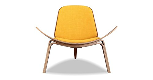 (Kardiel Tripod Plywood Modern Lounge Chair, Citrine Twill/Walnut)