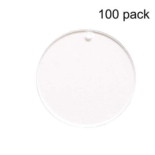 - 100 Pieces 2'' Diameter Clear Transparent Acrylic Keychain Blanks Discs Circles Hole Precut with Protective Paper 1/8
