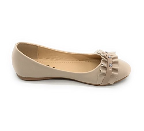 Blue Berry EASY21 Damen Casual Flats Ballett Mode Schuhe Kunstleder Nude68