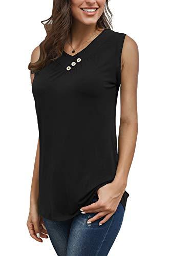 (Womens' Retro Sleeveless Tank Shirts Top 2XL Black Solid Color Vintage 50s)