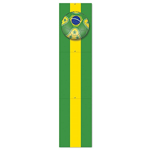 Club Pack of 12 Green and Yellow ''Brasil'' Soccer Themed Jointed Pull-Down Cutout Decorations 5' by Party Central