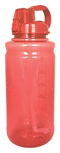 EXQUIS 101 OZ Tritan Outdoor Workout Water Bottle with Carry Handle, Locking Lid & Pop Up Straw, Orange, 101Oz