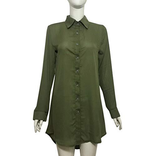 LULIKA Longues Chemise Chemisier Manches Fashion Vert Mesdames qrCqwHR8X