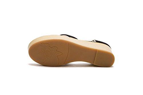 Amoonyfashion Sandalo In Pelle Di Pecora Con Fibbia In Pelle Di Pecora