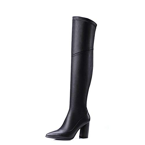HAOLIEQUAN Frauen Stiefel Mode Pu-Leathe Square High Heel Schuhe Damen Stiefel Größe 34-39