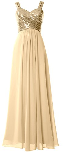 Wedding Sequin Light Back Dress Women Gown Long Cowl Formal MACloth Bridesmaid Gold Straps qT8xCwEE6