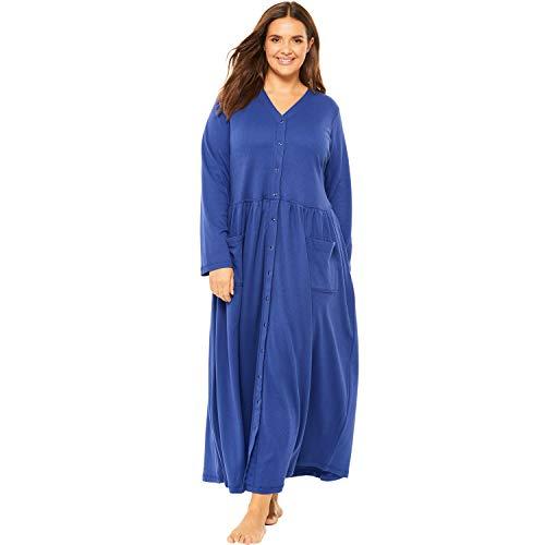 Only Necessities Women's Plus Size Long Knit Lounger - Blue Sapphire, 2X