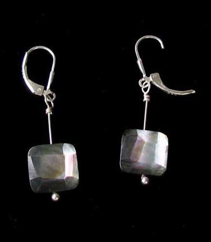 Faceted Tahitian Mop Shell & Silver Earrings 309396
