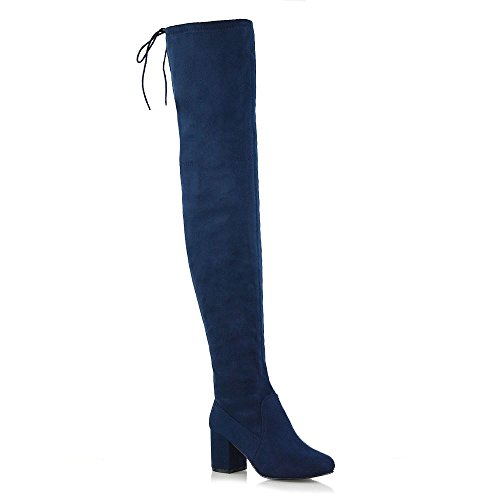 ESSEX GLAM Womens Lace Up Navy Faux Suede Thigh High Low Mid Heel Boots 6 B(M) US