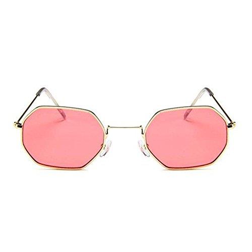 Retro Silver Sol De Gafas Gafas Gafas De Purple framed red gold Framed De Transparente Pequeñas Metal amp;YQ Cuadrados Z Océano De Sol slices Sol Hexagonales tUPqYY