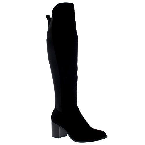 Mujer Tramo Altura De La Rodilla Equitación Talón De Bloque Suela Con Tacos Invierno Alto Botas Negro