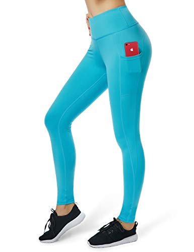 ALONG FIT Yoga Pants for Women with Cell Phone Pockets Side/Inner Compression Workout Leggings Tummy Control Yoga Leggings Capris ()