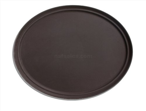 New Star Foodservice 25569 Non-Slip Tray, Plastic, Rubber Lined, Oval, 22 x 27 inch, Brown, Pack of 6 by New Star Foodservice