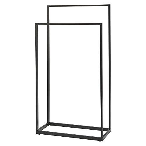 (Nova Bath Collection Yuri Stainless Steel Standing Double Towel Rack for Bathroom Spa Towel Hanger (Black))
