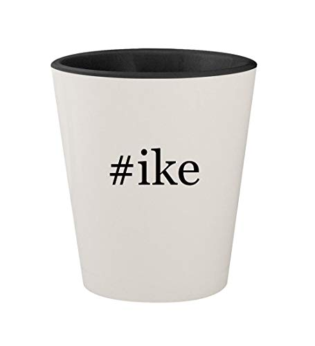 #ike - Ceramic Hashtag White Outer & Black Inner 1.5oz Shot Glass (Mike And Ike Tangy Twister Jelly Beans)