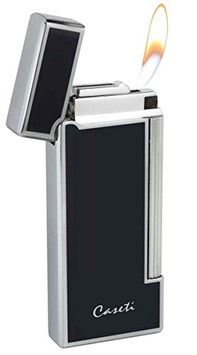 Visol Caseti Ravensdale Chrome Plated Vertical Lines and Black Lacquer Flint Traditional Flame Lighter