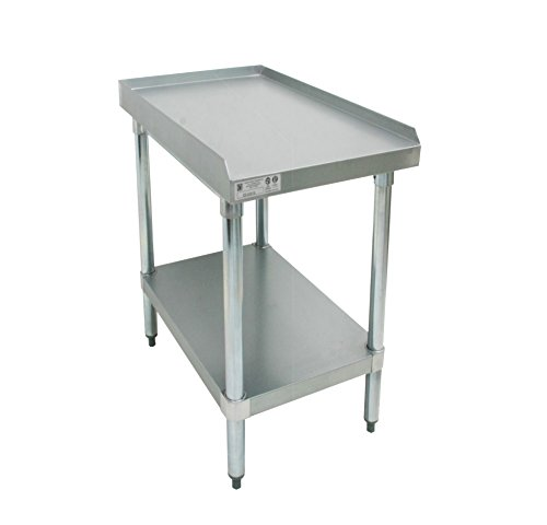 GSW Galvanized Commercial Equipment Stand with 1'' Upturn on 3 Sides, 1 Undershelf & Adjustable Bullet Feet, 30''W x 12''L x 24''H, NSF Approved by GSW