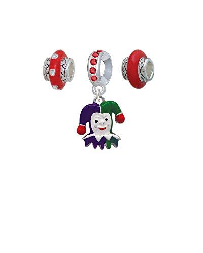 Silvertone Mardi Gras Jester Red Charm Beads (Set of 3)