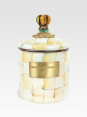 MacKenzie-Childs Parchment Check Enamel Canister - Medium by MacKenzie-Childs